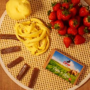 Palmito + fresa + cajeta